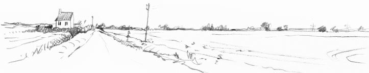 Tilney St Lawrence, a sketch by Rosie Redzia for 'A Wider Horizon'