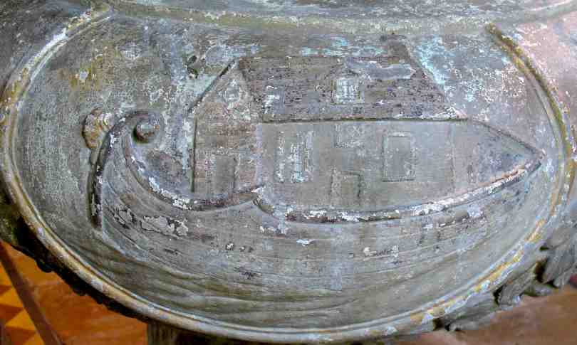 Noah's Ark, from the font made by William Tydd in 1719 for Moulton Church at a cost of £7 3s